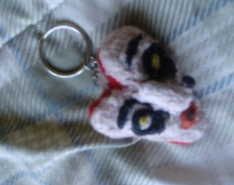 Hand Embroidered Halloween Horror Fabric Valentine Doll Head Key Chain