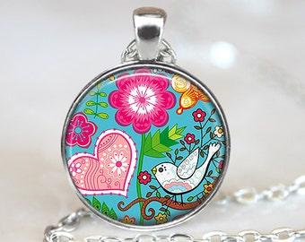 Modern Bird Pendant, Bird Art Pendant, Modern Necklace, Bird Jewelry, Whimsical Bird Pendant, Bronze, Silver, Bird Flowers Art Pendant 1284
