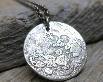 By the Light of the Moon necklace ... recycled fine silver / full moon