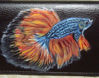 Betta Fish Custom Painted Leather Checkbook Cover Checkbook holder