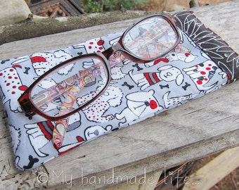 Eye Glass Case | Cute Reading Glasses Case | Cute Cartoon Dogs Fabric | Glasses Case | Small Eye Glass Case Under 15 | Cute Gift Under 15