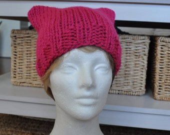 Pink Pussyhat for the Women's March on Washington - Knit Pussy hat - Kitty Hat - Mother's Day Gift