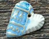 Ceramic Pendant, Ceramic Heart, Heart Pendant, Blue Heart, Blue Pendant, Pottery Charm, Pottery Pendant