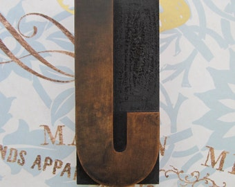 Letter J Antique Letterpress Wood Type Printers Block