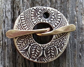 Reserved for M Toggle  Clasp Round  Rustic Brown Stoneware Ceramic Clay Handmade by Mary Harding