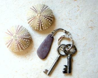 Beach Stone Key Chain - Beach Pebble Key Chain - Beach Stone Keychain - Key Ring - Key Chain - keys NOT included
