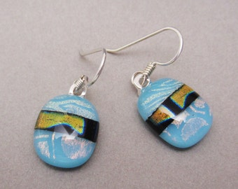 Turquoise oval Dichroic Glass Earrings three dichroic patterns Sterling silver ear wires Fused Glass jewelry Earrings Dangle drop earrings