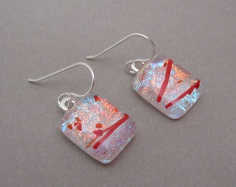Red Silver Streamers frit dichroic glass earrings Fused glass earrings sterling silver ear wires dangles Two layers dichroic glass