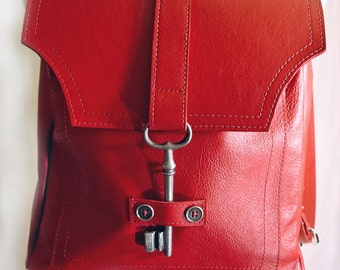 Red leather backpack | Etsy