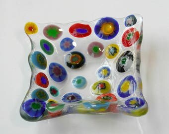 Small Fused glass dish - millifiore Fused Glass - candle holder - Decorative dish - Dresser Caddy - millifiore polka dots - blues - stars