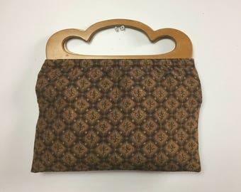 Brown Floral Bag - Dark Earth Tone Flower Print - Wood Handle Sewing Bag - Vintage 40s 50s Handmade Tapestry Bag - Simple Neutral Handbag