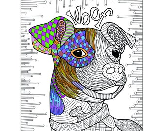 Woof Printable Coloring Page for Adults