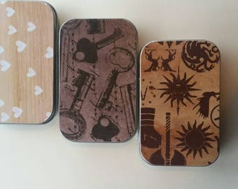 Large tin trio . . .Hearts Thrones and Keys