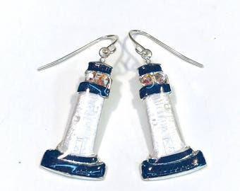 Nautical Navy and White Lighthouse Earrings