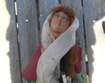 Fiber Art, Cloth Art Doll, Handmade, OOAK Art doll, Elf Art Doll, Woodland Fantasy Doll