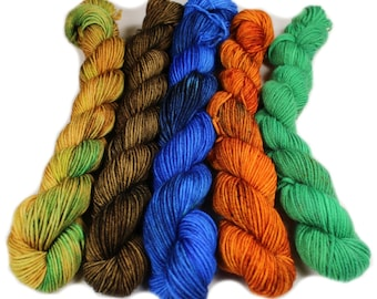 Dinosaur Land - Hobbledehoy Hand-dyed mini fingering weight skeins - 450 yards, 120 gm