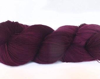 Handdyed  superwash Merino wool lace weight yarn, 1200m/100g hand dyed