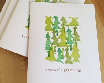 SALE! - Holiday Tree Greeting Cards - Pine Trees Seasons Greetings Cards - Christmas Tree Cards  - Hand Printed Holiday Cards - Set of 6