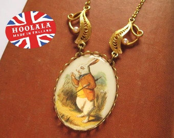 Hoolala Vintage Alice in Wonderland White Rabbit Charm Necklace One of a Kind As featured in The Sunday Times Style Magazine