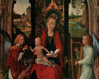 Madonna and Child With Angels - Memling - Vintage Art Print