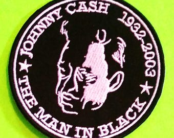 Johnny Cash The Man in Black Country Legend American Recordings White Embroidered Canvas Iron or Sew On Patch