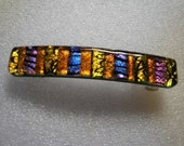 Dichroic Glass Barrette Purple and Orange, Dichroic Hair Clip, Willow Glass, OOAK