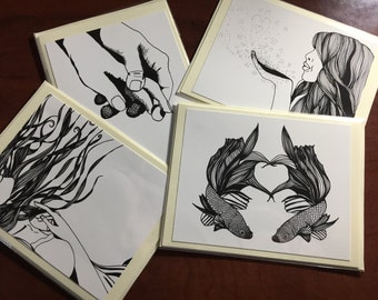 Valentines Day Note Cards Set of 4 - Original Ink Drawing Prints