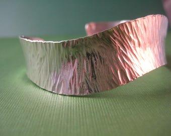 Hand hammered sparkly Sterling Silver bracelet cuff