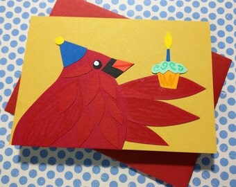 Cardinal with a Cupcake // Happy Birthday