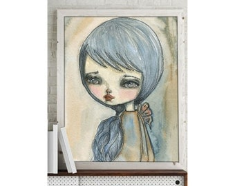 Danita, a self portrait - Giclee reproduction of an original watercolor painting By Danita Art (ACEO, Paper Print and Mounted On Wood)