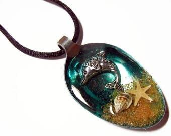 Resin Spoon Pendant - Splashin Dolphin -  Altered Art Necklace 1