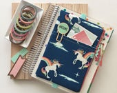 Magical unicorns planner cover - pocket planner pouch - unicorn bag - rainbows - planner stickers holder - cute planner cover - pen pouch