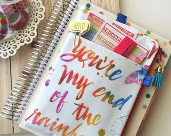 Rainbow planner cover - rainbow pencil case - planner accessories pouch - happy planner cover - life planner cover - BUJO bag - quote bag