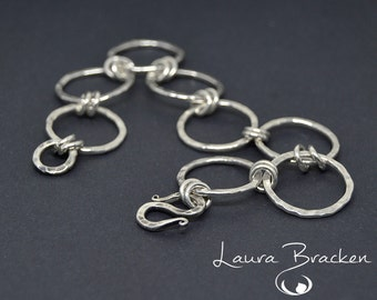 Textured Links Sterling Silver Bracelet Smaller Size