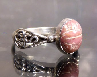 Scarab Beetle Pink Rhodonite Gemstone carved ring in sterling silver with wings bug size 9 stacker rings