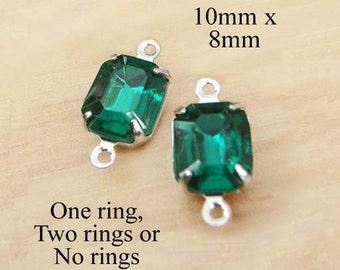 Emerald Green Glass Beads, Octagon, Silver Plated Brass Settings, Rhinestone, 10mm x 8mm, Cabochon, Glass Gems, Rhinestones, One Pair