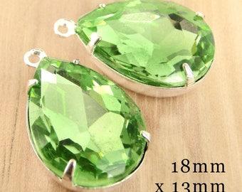 Peridot Green Framed Glass Beads - 18x13mm Pear or Teardrop - Silver or Brass Settings - 18mm x 13mm - Rhinestones - Glass Gems - One Pair