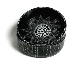 Ceramic Bowl Set - 2 Black and White Doodle Design Bowls - Ring Bowl, Prep Bowls, Ice Cream Bowls