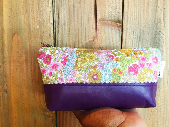 Floral Leather Pouch, Makeup Bag, Zipper Pouch, Make up Pouch, Women's Toiletry Bag, Leather Clutch, Cosmetic Pouch, Gift for Her