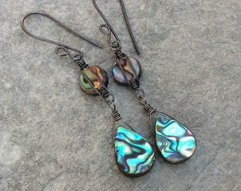 ABALONE earrings, Abalone dangle earrings with sterling silver, shell earrings