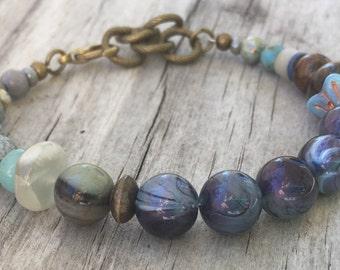 BOHO Stack BRACELET in BLUE & Purple with Vintage beads, Gemstones and Adjustable Length