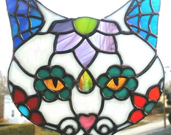 Kitty Sugar Skull Stained Glass -Day of the Dead Sugar Skull - Glass Art Sugar Skull Cat - Sarah Segovia - Fragile Beauty Glass Art