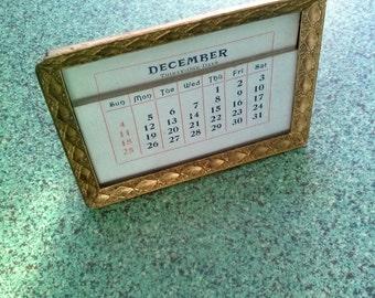 Vintage 1910s Perpetual Calendar Victorian Antique Brass Desk Items