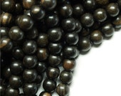 Wood Bead, Round 8mm, Tiger Ebony - 16 Inch Strand