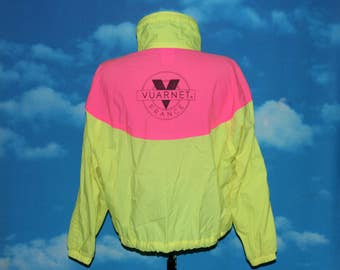 Vuarnet France Neon Pink and Yellow Medium Windbreaker Jacket Vintage 1980s