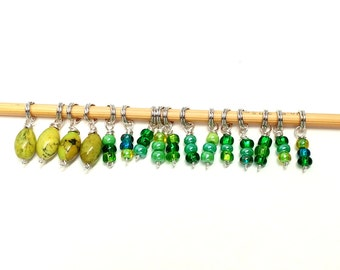 Gorgeous glass and stone beaded stitch markers- Shawl Set (16 markers), fit 3.75 mm knitting needles