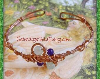 Green Aventurine Bracelet, Handmade Copper Jewelry, Handmade Copper Bracelet, Wire Wrapped Jewelry, Copper Jewelry, Green Cuff Bracelet