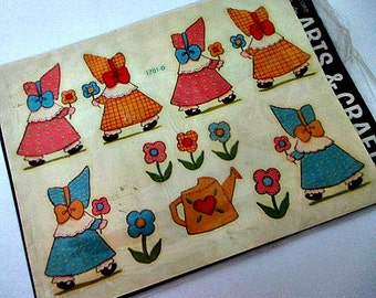Vintage Sunbonnet Girl Decals Unused in Package - Decoupage Altered Art Mixed Media Craft Home Decor Supply