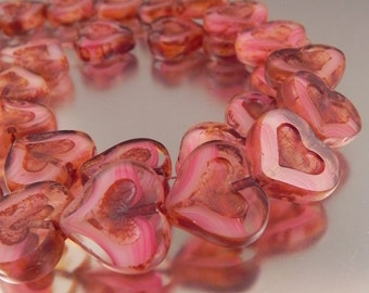 Raspberry Pink Czech Glass table cut Heart Beads, 12 beads