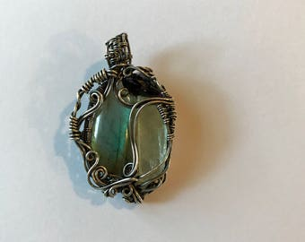 3 Stone Labradorite Kunzite Amethyst & Silver Wire Wrapped Pendant Necklace